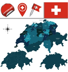 Switzerland map with named divisions vector