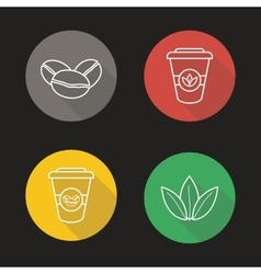 Coffee and tea flat linear long shadow icons set vector