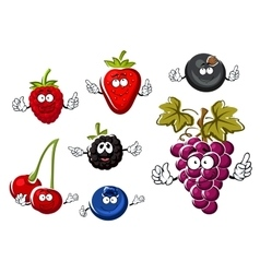 Assorted isolated fresh cartoon berries vector image