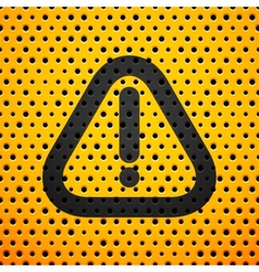 Attention black sign on yellow metal texture with vector