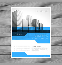 blue annual report brochure flyer poster design vector image