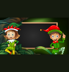 boy and girl in elf costume by blackboard vector image vector image