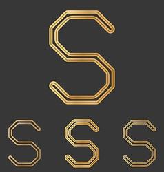 Bronze line s logo design set vector