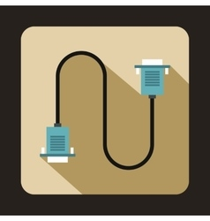 Cable wire computer icon flat style vector image
