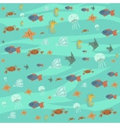 cartoon flat ocean stuff background vector image vector image