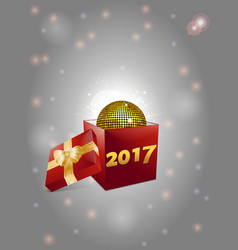 Christmas gift box and disco ball background 2017 vector