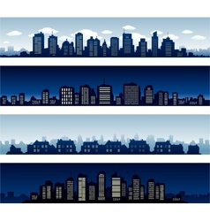 City buildings at night and day vector