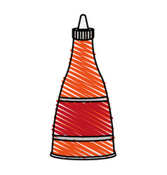 Color crayon stripe cartoon red jar sauce with vector