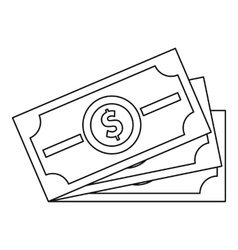 Dollar banknotes icon outline style vector
