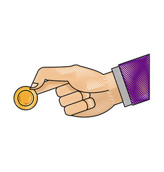 Drawing hand man business with coin money icon vector