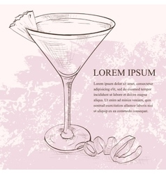 French martini scetch cocktail vector