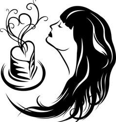 Girl enjoying the aroma of coffee vector