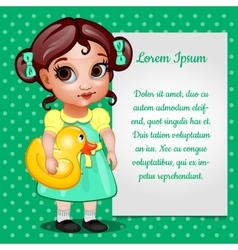 Girl in green dress and card for your text vector image