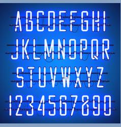 Glowing blue neon casual script font vector