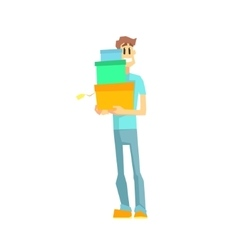 Guy with three gift boxes vector