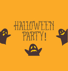 halloween party card with cute ghost vector image