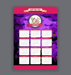 Halloween purple background calendar 2016 year vector