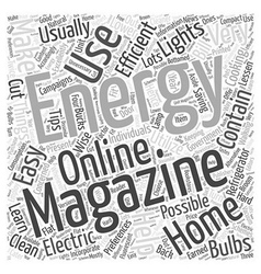Home energy magazine word cloud concept vector