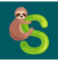 Letter s with sloth animal for kids abc education vector