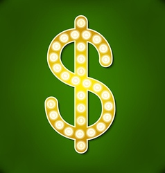 Letters for signs with lamps Dollar symbol vector image