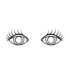 Line vision eyes with eyelashes style design vector