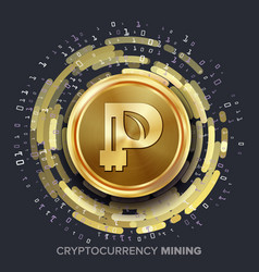 Mining peercoin cryptocurrency golden coin vector
