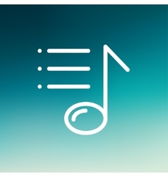Musical note with bar thin line icon vector image vector image