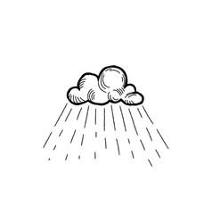 rain icon hand drawn cloud with rain droplets vector image vector image