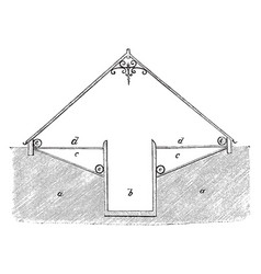 Section of span roofed pit vintage vector