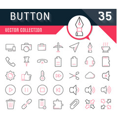 set flat line icons mobile design vector image vector image