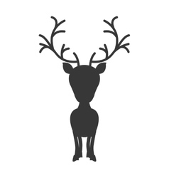 Silhouette monochrome with reindeer of big head vector