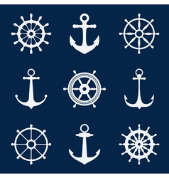Steering ship wheels and anchors icons naval vector