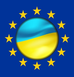 Ukrainian flag and European Union vector image vector image