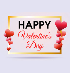 valentines day background with gold frame vector image