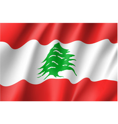 waving flag of lebanese republic vector image vector image