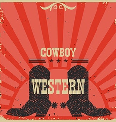 Western cowboy boots background red card vector