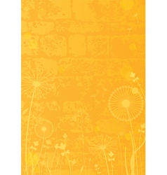 Yellow background with dandelions vector