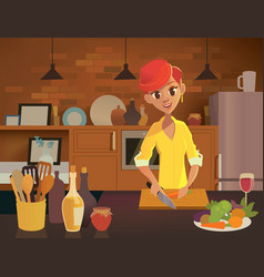 Young happy woman cooking in the kitchen healthy vector