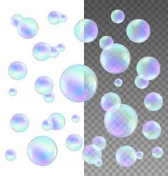 Realistic soap bubbles with rainbow reflection set vector image