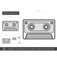 Retro cassette line icon vector
