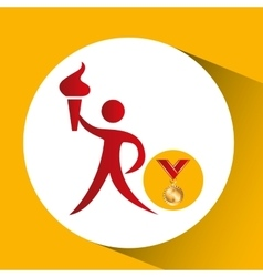 Olympic gold medal athlete torch icon vector