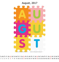 August 2017 puzzle calendar vector image