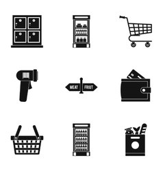Market icons set simple style vector