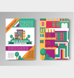 real estate flat brochure set with house logo vector image
