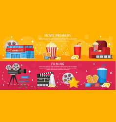 Colorful cinema horizontal banners vector