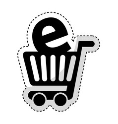 shopping cart with ecommerce icon vector image