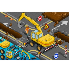 Isometric yellow excavator with four arms in rear vector