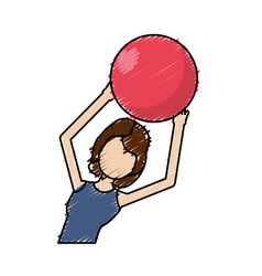 Healthy woman doing exercise with ball vector