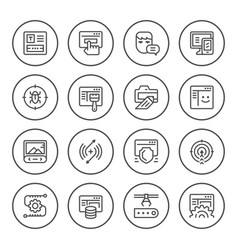 Set round line icons of web development vector