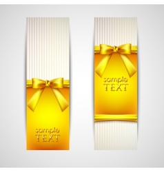 Greeting cards with yellow bows and ribbons vector